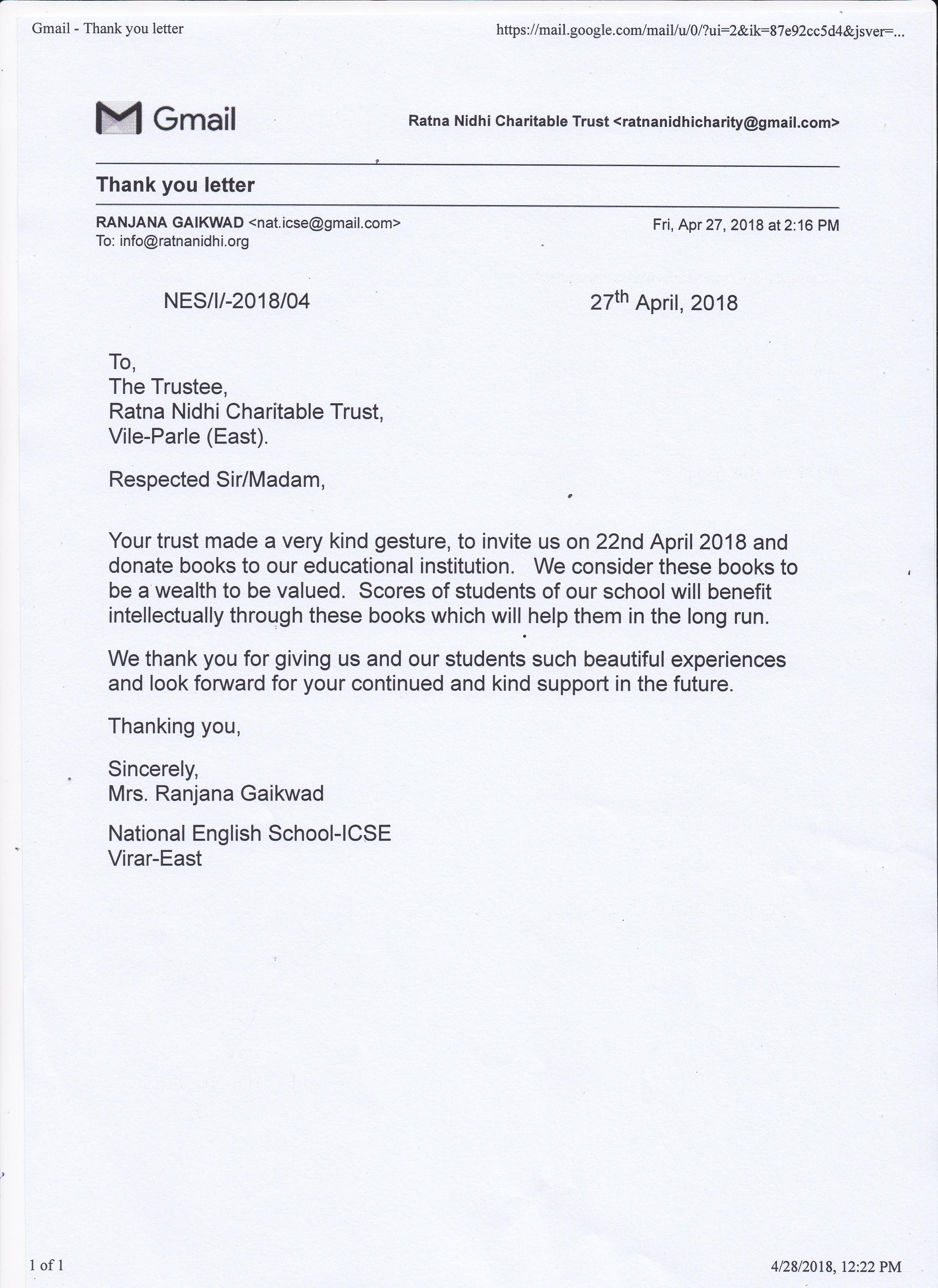 mission million books 4 exhibition thanks letter